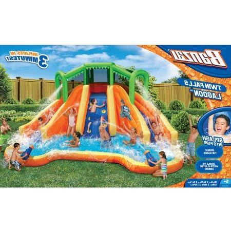 Banzai Falls Dual Lane Constant Air Water Spring & Pool Splash Backyard Toys