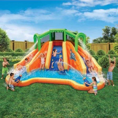 Banzai Twin Lagoon Dual Lane Inflatable Constant Air Water Spring Pool Splash