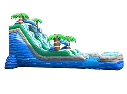 18-Foot Blue Inflatable Water Slide, or Commercial Grade, 1.5 and Stakes Included