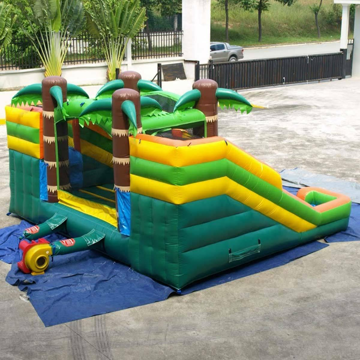 Tropical Inflatable House Double Wet Dry Slide Combo