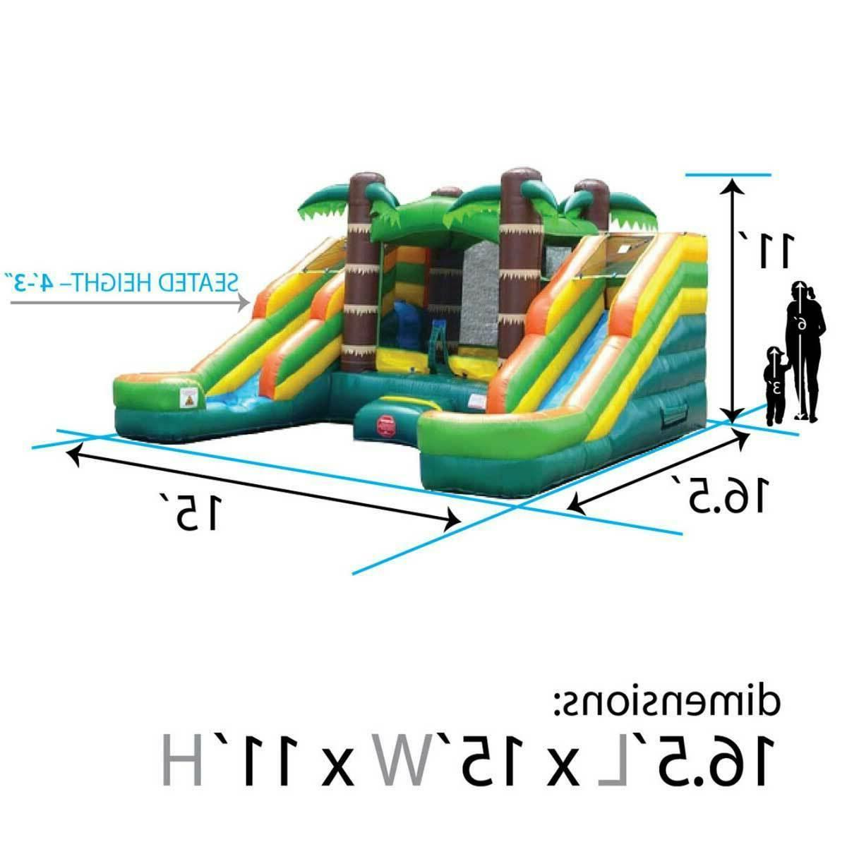Vinyl Inflatable Bounce House Water Pool Tropical Double