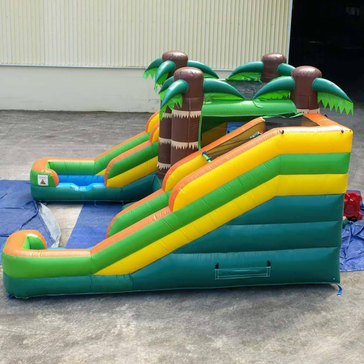 Tropical Inflatable House Double Dry Slide With Pool Combo
