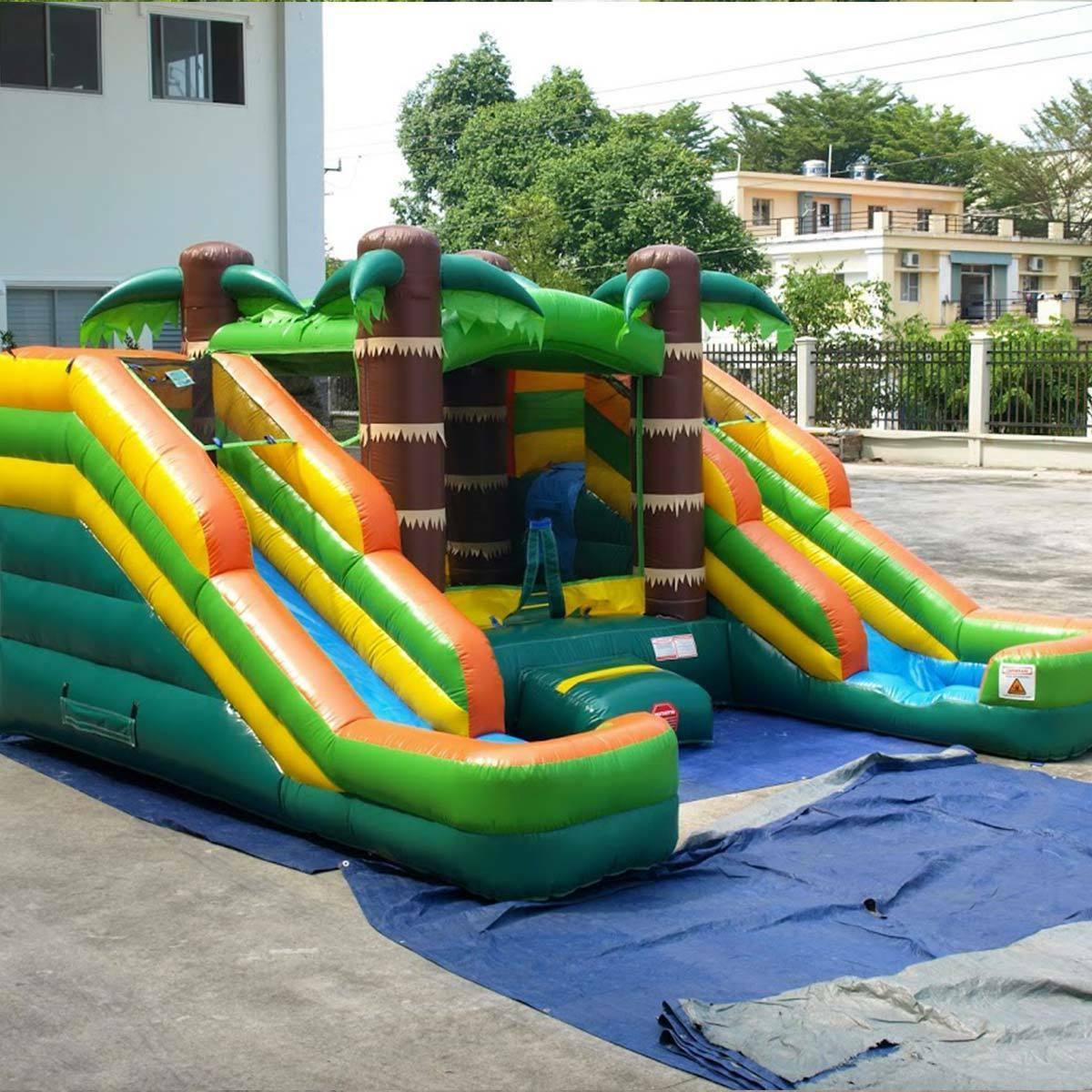 Tropical Bounce House Double Lane Wet Dry Slide Kids Combo