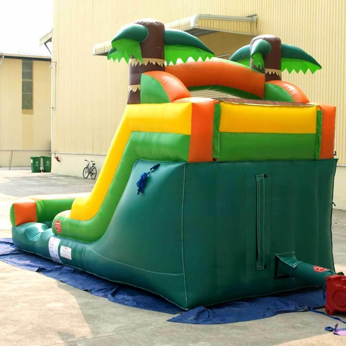 Tropical Inflatable Water Slide Single Wet Dry Slide Blower