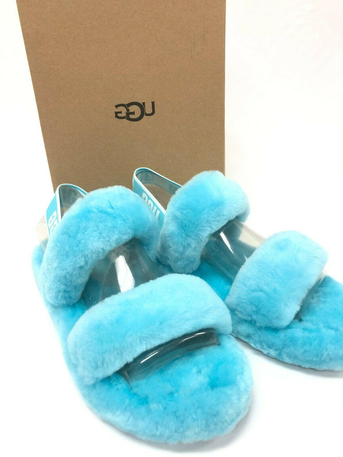 UGG Slingback Oh Yeah Slides Clear Blue Women's Shoes Slippers