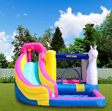 Unicorn Inflatable House Castle Water Slide Blower Outdoor