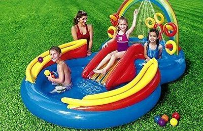 water play set inflatable slide bounce pool