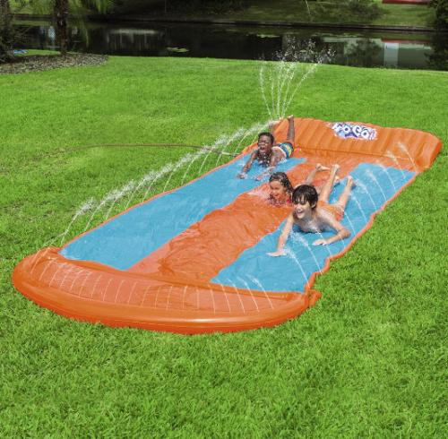 water slide triple inflatable kids toy slip