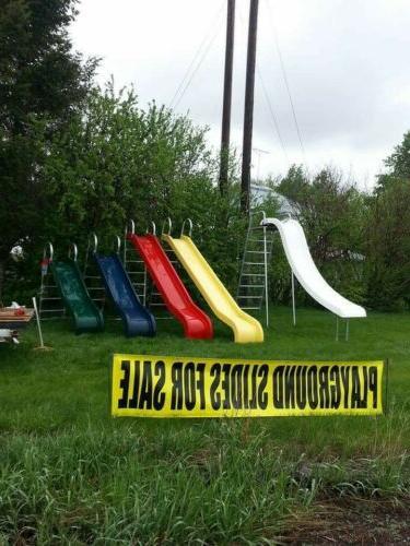 new 10ft fiberglass playground slide works on
