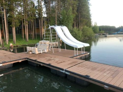 water slide with a frame ladder houseboat