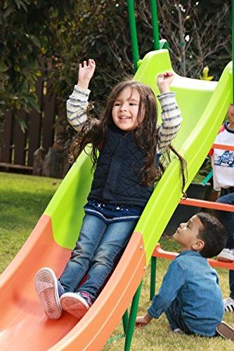 SLIDEWHIZZER Outdoor Playground Slide; 8-FT Playset and Rider for Children. Backyard Toy Play Set. Playing. for Hours.