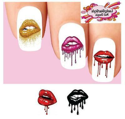 waterslide nail decals set of 20 lips