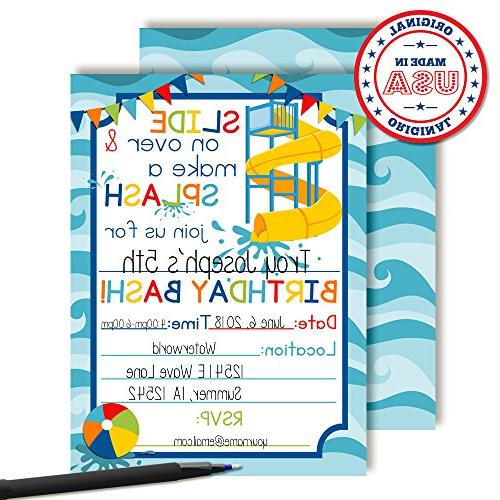 Waterslide Party Invitations 20 Cards Envelopes AmandaCreation