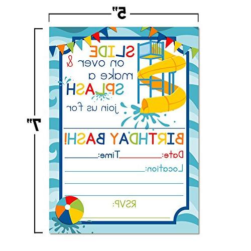 Waterslide Birthday Party Invitations 20 Cards Envelopes by AmandaCreation