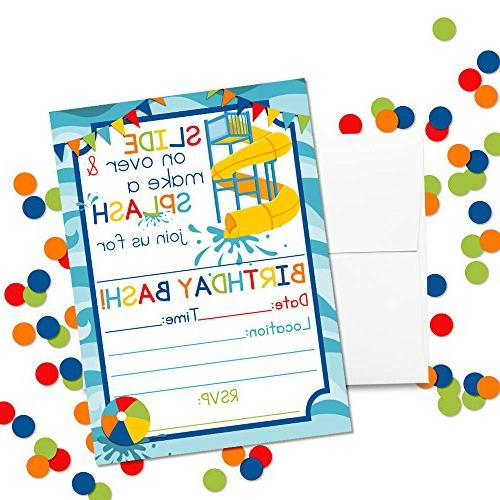 "Waterslide Party Invitations for Boys, 20 5""x7"" Fill Cards with Envelopes by"