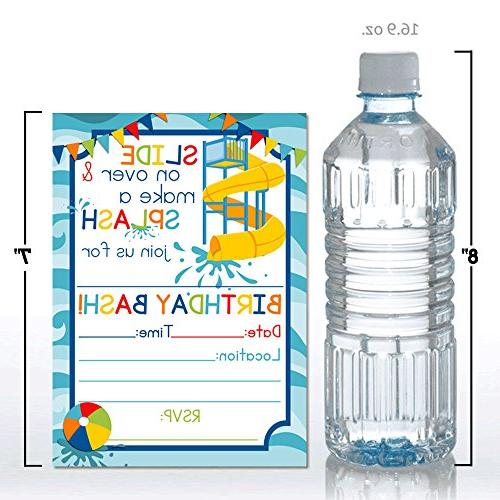 Waterslide Summer Party Invitations for Boys, 20 Cards Envelopes by
