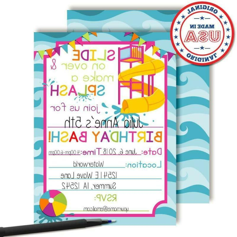 Waterslide Fun Party Invitations for 20 Fill in Car