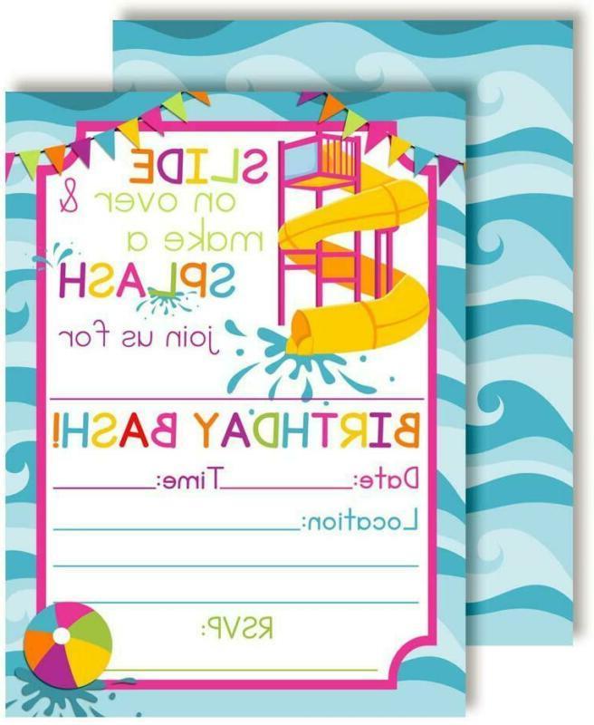 waterslide summer fun birthday party invitations