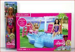 LOT 2 - Barbie Glam POOL & SLIDE Set + Blond Doll - Water Sl