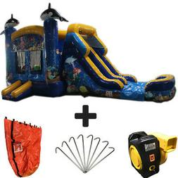 NEW 28ft Ocean Wet/Dry Commercial Inflatable Bounce House Wa