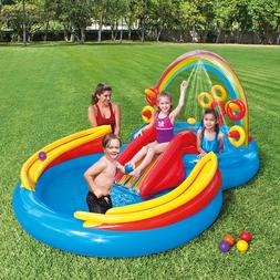 "New Intex Rainbow Ring Inflatable Play Center, 117"" X 76"" X"