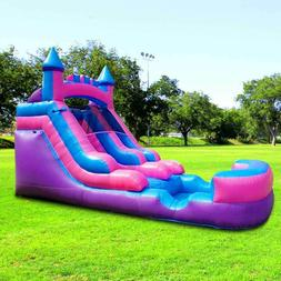 Pink Blue Inflatable Water Slide Single Lane Vinyl Bouncy We