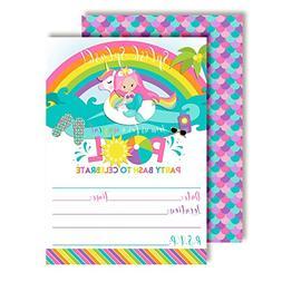 Pink Mermaid Unicorn Rainbow Pool Party Birthday Party Invit