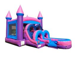 Pink Princess Commercial Inflatable Water Slide Bounce House