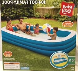 "Play Day Rectangular Inflatable Family Pool, 120"" x 72"" x 22"