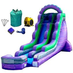 18-Foot Purple Marble Inflatable Water Slide, Wet or Dry, Co