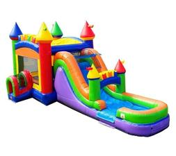 rainbow commercial inflatable big water slide bounce