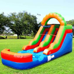 Rainbow Inflatable Water Slide Single Lane Vinyl Bouncy Wet