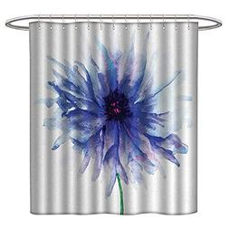 Qenuanmpo Rustic Shower Curtain Watercolor Flower,Single Lar