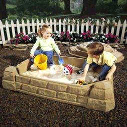 Kids Outdoor 4' Sandbox Weatherproof Cover Backyard Play San