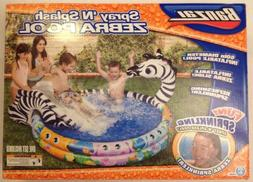 Banzai Shade n Sun Zebra Inflatable Swimming Pool with Sprin