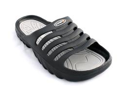 Vertico Men's Shower and Pool Slide On Sandal, Black and Gra