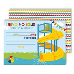 Slide Into Summer Waterslide Birthday Party Invitations for
