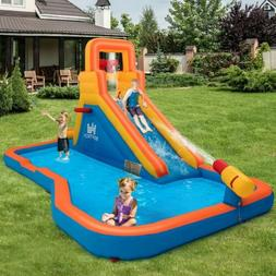 Splash Inflatable Water Bouncer with Climbing Wall Ball Hoop