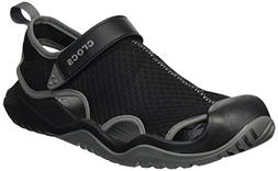 Crocs Men's Swiftwater Mesh Deck Sandal Sport, Black, 10 M U