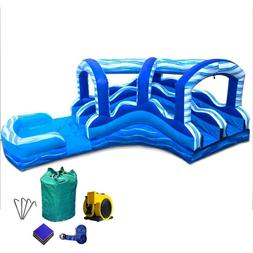 TentandTable Blue Marble Wave Inflatable Water Slide Curved