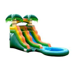 Tropical Inflatable Water Slide, 13 Ft Tall, with Pool & Blo