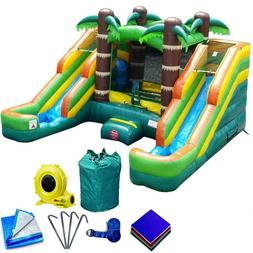 Tropical Inflatable Bounce House Double Lane Wet Dry Slide W