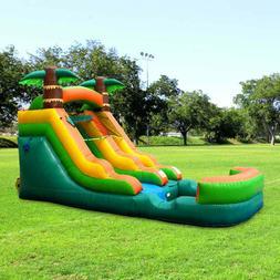 Tropical Inflatable Water Slide Single Lane Vinyl Bouncy Wet