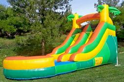 Tropical Theme Inflatable Water Slide 12 Feet Tall 100% PVC