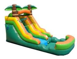 12' Wet/Dry Tropical Inflatable Water Slide Single Lane Spla