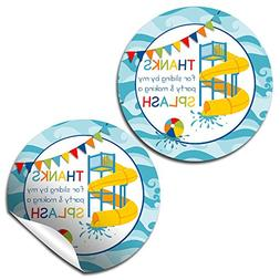 Waterslide Fun Birthday Thank You Sticker Labels for Boys, 2