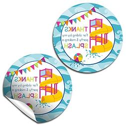 Waterslide Fun Birthday Thank You Sticker Labels for Girls,