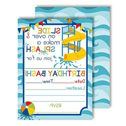Waterslide Summer Fun Birthday Party Invitations for Boys, 2