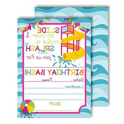 Waterslide Summer Fun Birthday Party Invitations for Girls,
