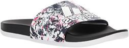 adidas Women's Adilette Comfort Slide Sandal, White/Black, 6